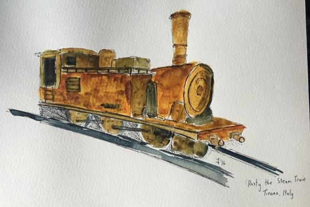 Old loco at Tirano, Italy on the Bernina Express