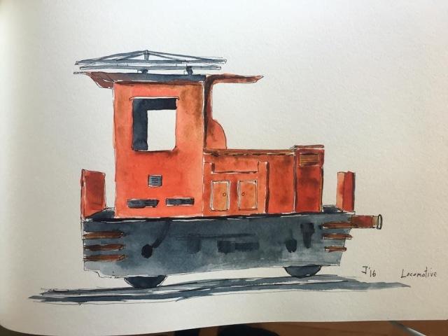 Watercolour of Swiss locomotive