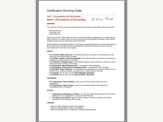 Storytelling Certification week 1