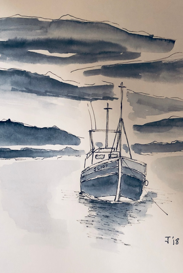 Watercolour of a boat